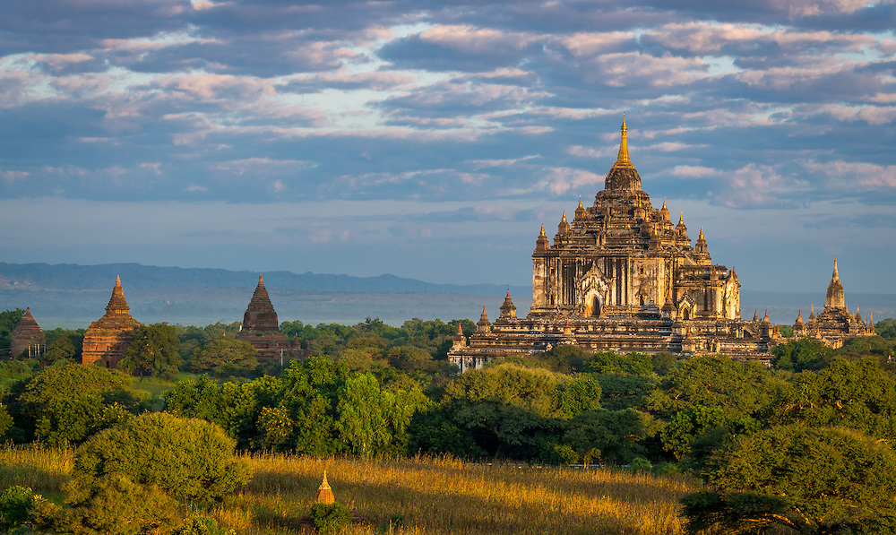 View of the Thatbyinnyu Temple in Bagan, Myanmar (Burma) . This is one of the visited temples in Bagan. It was built in the mid-12th century.