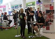 Gym membership promotion event inside shopping mall, Brunel Centre, Swindon, Wiltshire, England, UK