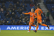 Ipswich's Freddie Sears celebrates his team's second goal with Kevin Bru during the Sky Bet Championship match between Brighton and Hove Albion and Ipswich Town at the American Express Community Stadium, Brighton and Hove, England on 21 January 2015.