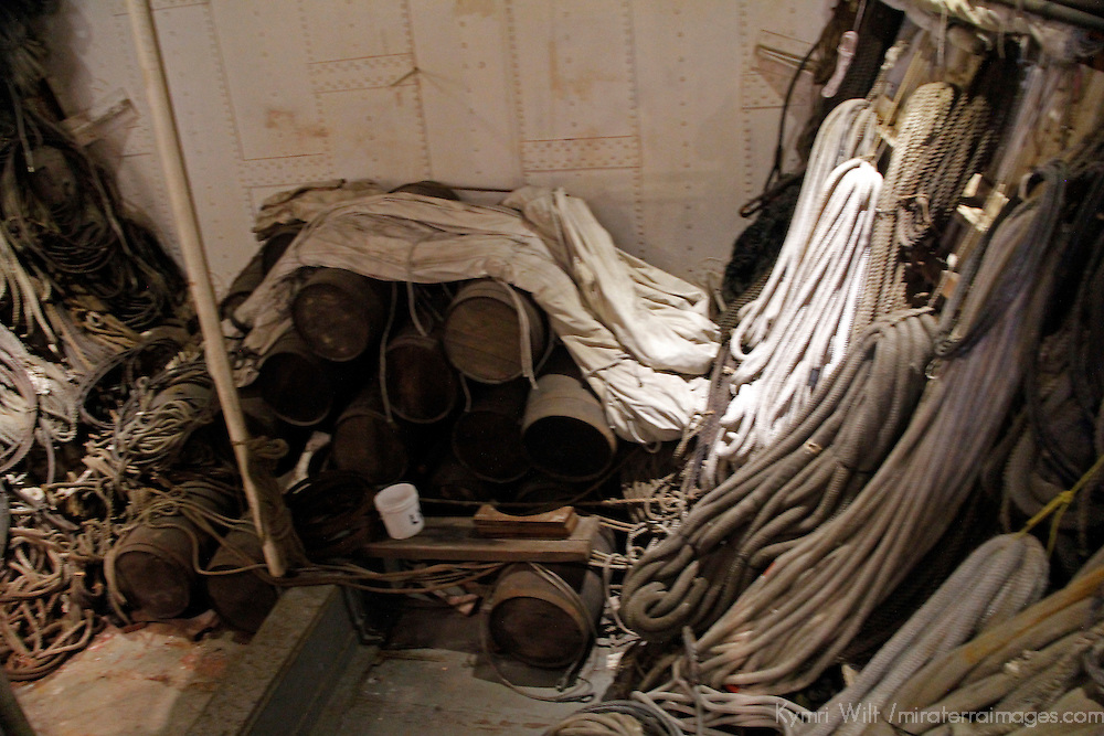 USA, California, San Diego. Star of India Sailing Ship ropes, at the San Diego Maritime Museum.
