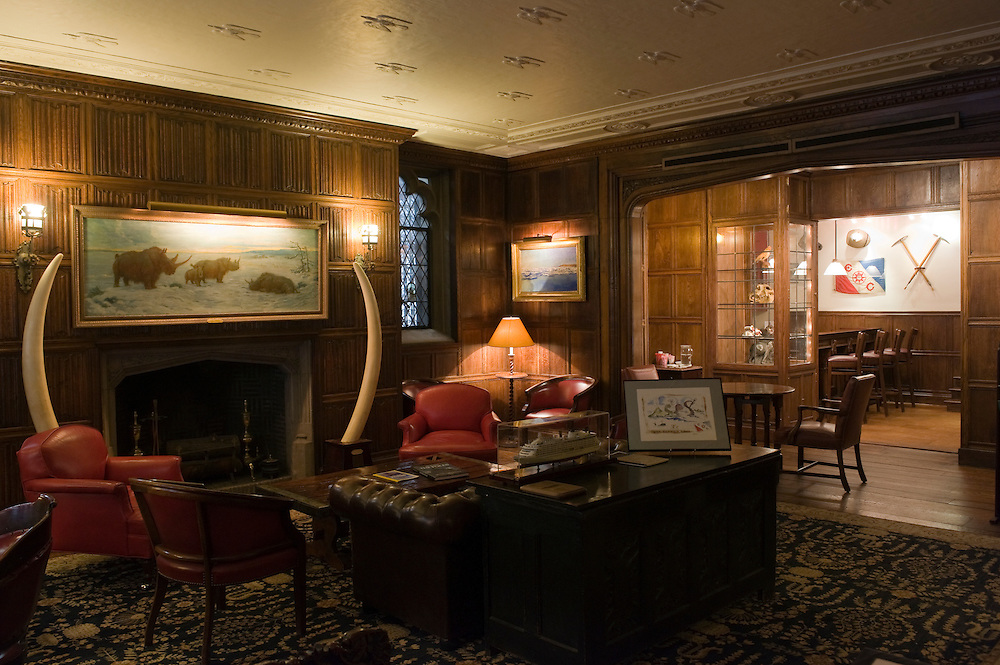 The Explorers Club club's members lounge...Founded in New York City in 1904, The Explorers Club promotes the scientific exploration of land, sea, air, and space by supporting research and education in the physical, natural and biological sciences. The Club's members have been responsible for an illustrious series of famous firsts: First to the North Pole, first to the South Pole, first to the summit of Mount Everest, first to the deepest point in the ocean, first to the surface of the moon--all accomplished by our members.