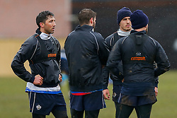 New Signing Gavin Henson of Bristol Rugby (L)  trains ahead of his First Team debut against Moseley on Sunday 15th February - Photo mandatory by-line: Rogan Thomson/JMP - 07966 386802 - 13/02/2015 - SPORT - RUGBY UNION - Bristol, England - Bristol Rugby Club Training Ground, Station Road, Henbury - Training Session.