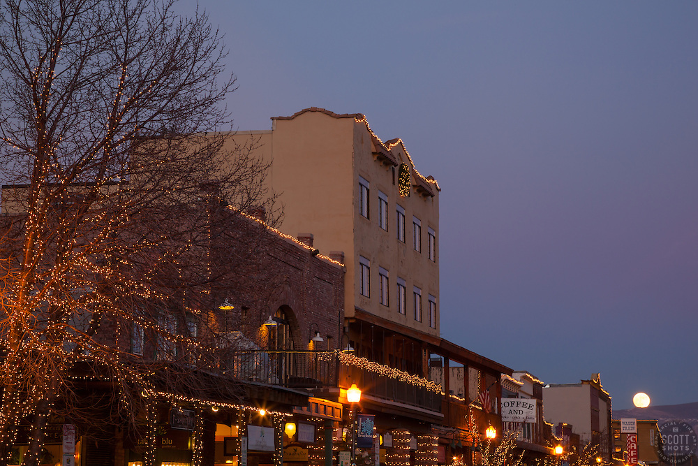 """Moon Over Truckee 2"" - Photograph of a moon rising over Truckee at sunset."