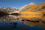 Mirrored reflection of a fall foliage covered mountain in south lake, mammoth lakes, california