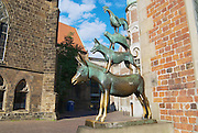 BREMEN, GERMANY - JULY 16, 2008: Exterior of the statue of the Town Musicians of Bremen in Bremen, Germany. Famous statue created by Gerhard Marcks in 1953.