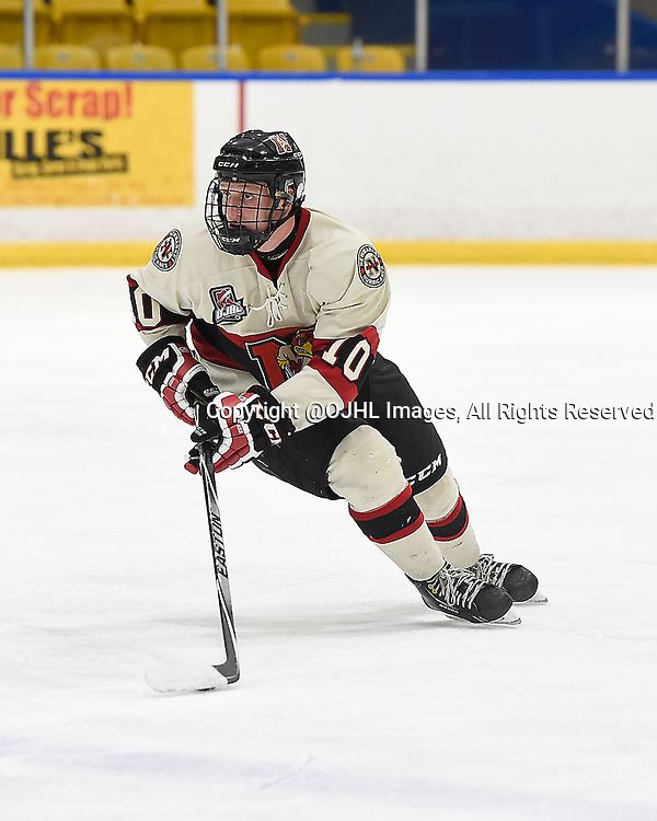 WHITBY, ON - Oct 9, 2015 : Ontario Junior Hockey League game action between Newmarket and Whitby, Christian Dedonato #10 of the Newmarket Hurricanes skates with the puck during the second period.<br /> (Photo by Andy Corneau / OJHL Images)