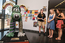 "© Licensed to London News Pictures.  02/07/2018; Bristol, UK. Gromit Unleashed 2. ""Gromitronic"" Gromit character, one of the Trailblazer interactive sculptures, installed at M Shed for the Gromit Unleashed 2 sculpture trail. Gromit Unleashed 2, which officially begins today on 02 July, will see the Academy Award®-winning character Gromit by Nick Park at Aardman Animations returning to Bristol in 2018 for the second time on sculpture trails to raise money for  the Grand Appeal charity. The character of Gromit will be joined by Wallace and their arch nemesis Feathers McGraw. The trail will feature over 60 giant sculptures designed by high-profile artists, designers, innovators and local talent. Sculptures will be positioned in high footfall and iconic locations around Bristol and the surrounding area. Photo credit: Simon Chapman/LNP"