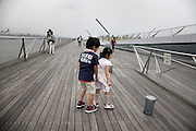 children playing on the Osanbashi pier Yokohama Japan