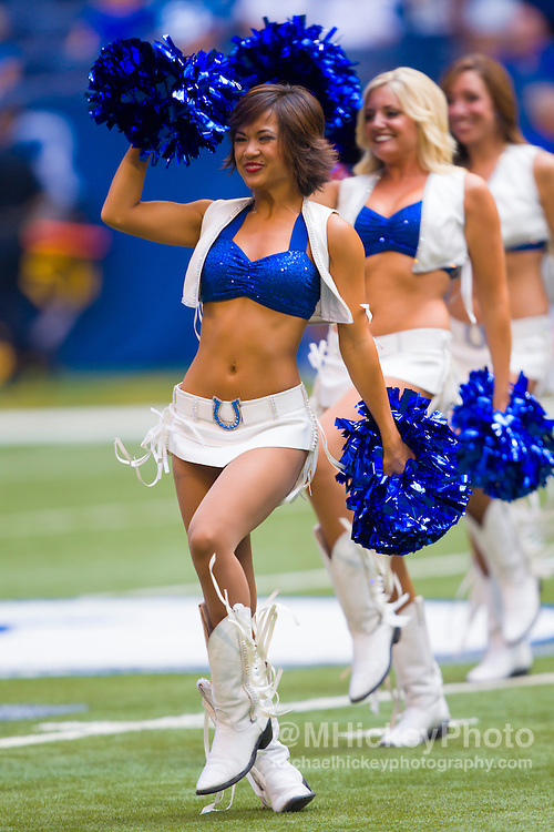 INDIANAPOLIS, IN - AUGUST 11: Indianapolis Colts cheerleaders seen during the game against the Buffalo Bills at Lucas Oil Stadium on August 11, 2013. (Photo by Michael Hickey/Getty Images)