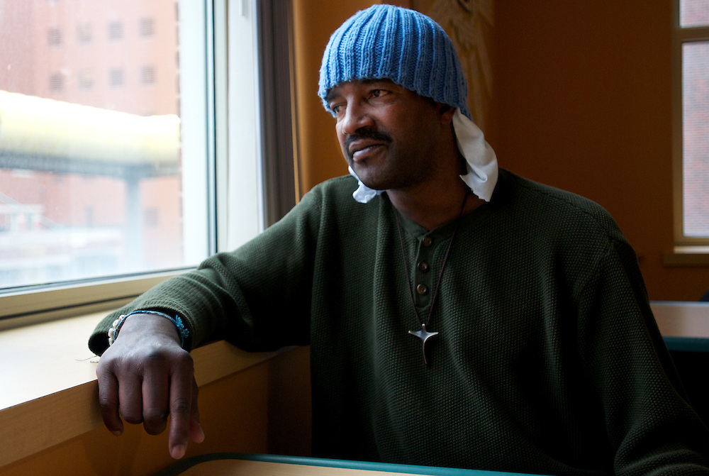 April 16, 2011 - Robert Garner sits in the cafeteria of the Boston Health Care for the Homeless Project's Barbara McInnis House near Boston Medical Center. Garner says he has been living on the streets for 14 years.
