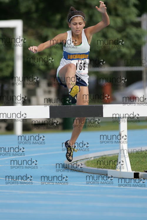 Carol Graham competing in the 2000m steeple chase at the 2007 OFSAA Ontario High School Track and Field Championships in Ottawa.