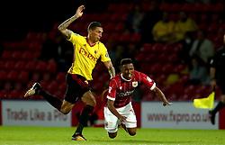 Niclas Eliasson of Bristol City is fouled by Jose Holebas of Watford - Mandatory by-line: Robbie Stephenson/JMP - 22/08/2017 - FOOTBALL - Vicarage Road - Watford, England - Watford v Bristol City - Carabao Cup