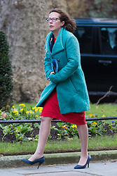 London, UK. 8th January, 2019. Baroness Evans of Bowes Park, Leader of the House of Lords and Lord Privy Seal, arrives at 10 Downing Street for the first Cabinet meeting since the Christmas recess.