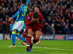 LIVERPOOL, ENGLAND - Tuesday, December 11, 2018: Liverpool's Virgil van Dijk looks dejected after missing a chance during the UEFA Champions League Group C match between Liverpool FC and SSC Napoli at Anfield. (Pic by David Rawcliffe/Propaganda)