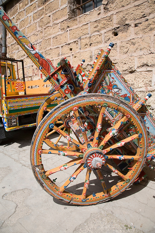 Piaggio Ape and traditional Sicilian painted cart by artist and craftsman Franco Bertolino, Palermo, Sicily, Italy