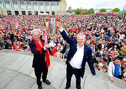 Bristol City's majority shareholder, Steve Lansdown and Chairman Keith Dawe hold up the Sky Bet League One Trophy - Photo mandatory by-line: Joe Meredith/JMP - Mobile: 07966 386802 - 04/05/2015 - SPORT - Football - Bristol -  - Bristol City Celebration Tour
