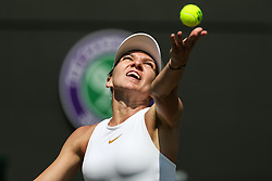 LONDON, July 7, 2018  Simona Halep of Romania serves during the women's singles third round match against Hsieh Su-Wei of Chinese Taipei at the Wimbledon Championships 2018 in London, Britain, July 7, 2018. Simona Halep lost 1-2. (Credit Image: © Shi Tang/Xinhua via ZUMA Wire)