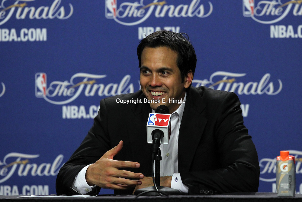 Jun 19, 2012; Miami, FL, USA; Miami Heat head coach Erik Spoelstra talks to the media during the post game press conference after game four in the 2012 NBA Finals at the American Airlines Arena. Miami won 104-98. Mandatory Credit: Derick E. Hingle-US PRESSWIRE
