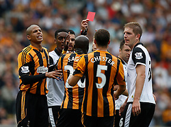 Referee Mike Jones sends off Hull City's Yannick Sagbo for headbutting   - Photo mandatory by-line: Matt Bunn/JMP - Tel: Mobile: 07966 386802 24/08/2013 - SPORT - FOOTBALL - KC Stadium - Hull -  Hull City V Norwich City - Barclays Premier League