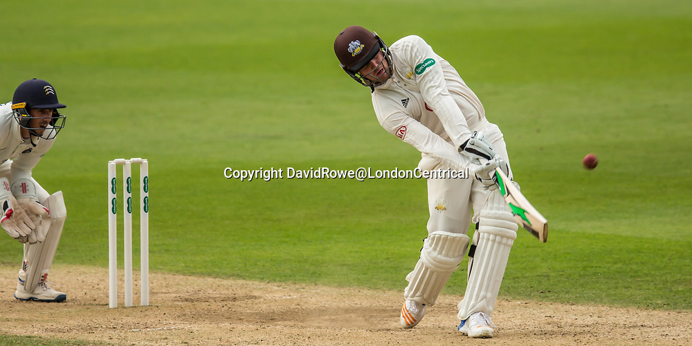 London,UK. 29 August 2017. Jason Roy powers a six batting for Surrey against Middlesex at the Oval on day two of the Specsaver County Championship match at the Oval. David Rowe/ Alamy Live News