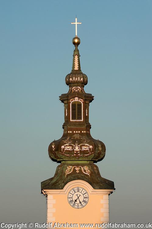 Evening light on the spire of St Mary's Church, Zagreb, Croatia
