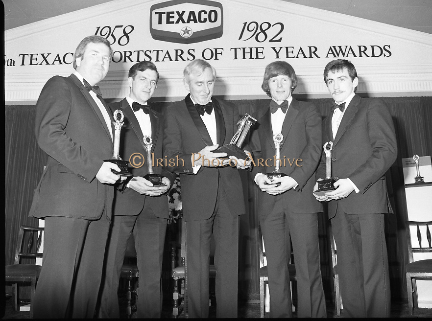 Texaco Sportstars Of The Year Awards.1983..14.04.1983..04.14.1983..14th April 1983...Pictured at the awards ceremony were the award winners..For excellence in sport in 1982.(L-R),.Noel Skehan,Hurling. Martin Furlong,Football..Ronnie Delaney,Athletics,Hall of Fame,Ollie Campbell,Rugby and Barry McGuigan, Boxing..The award ceremony was held in The Burlington Hotel,Dublin.