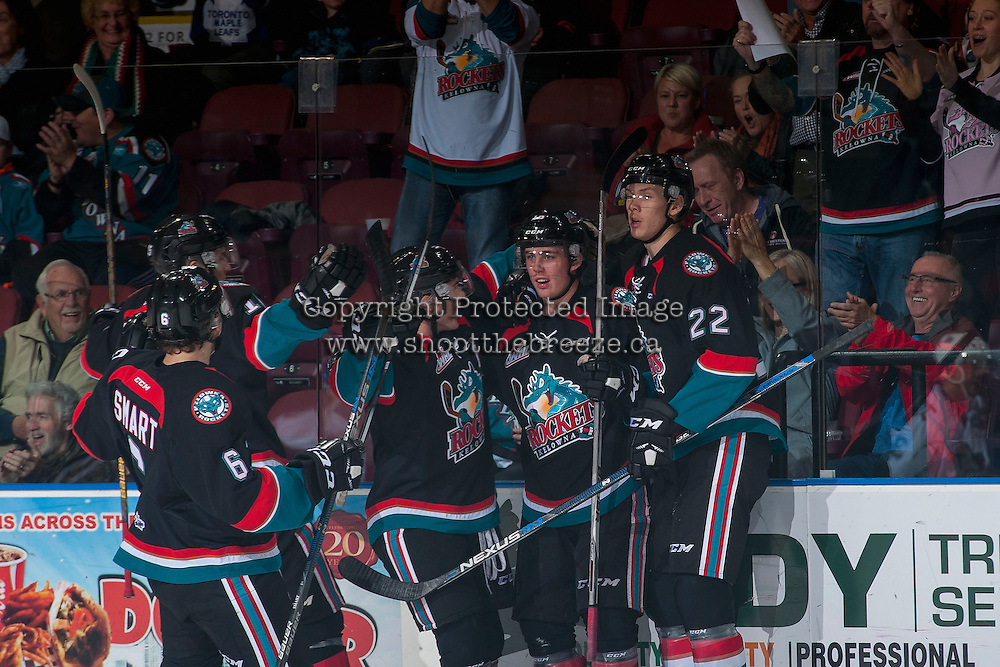 KELOWNA, CANADA - OCTOBER 26: Kole Lind #16 and Braydyn Chizen #22 of the Kelowna Rockets celebrate a goal against the Victoria Royals on October 26, 2016 at Prospera Place in Kelowna, British Columbia, Canada.  (Photo by Marissa Baecker/Shoot the Breeze)  *** Local Caption ***