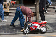 Insa-dong. Miniature motor bike.