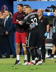 Cristiano Ronaldo of Portugal celebrates with Anthony Lopes of Portugal  - Mandatory by-line: Joe Meredith/JMP - 10/07/2016 - FOOTBALL - Stade de France - Saint-Denis, France - Portugal v France - UEFA European Championship Final