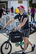 Men Elite #42 (SCHIPPERS Jay) NED arriving on race day at the 2018 UCI BMX World Championships in Baku, Azerbaijan.
