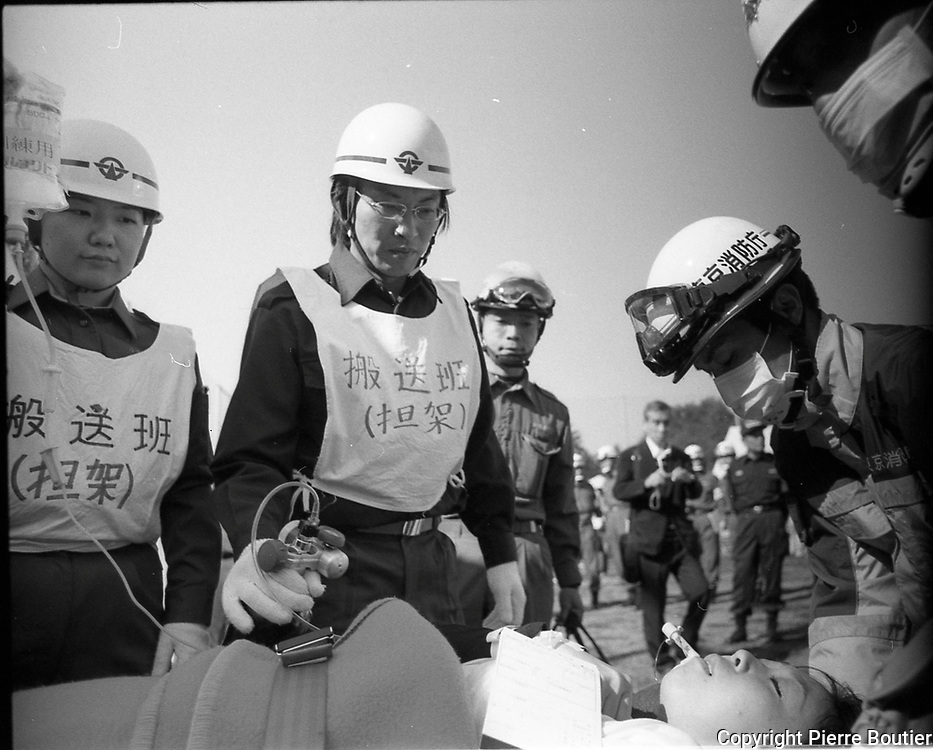 Drill to prepare major quake in Koganei park , firefighter, policeman,army GSDF,doctor,volunteer meet for exercises with colleges, and school. According to seismic scientists and officials  there is 70 per cent that a plate can hit Tokyo soon and create a major quake, the epicenter could be in Tachikawa and Kunitachi.