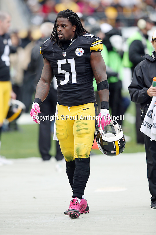 Pittsburgh Steelers inside linebacker Sean Spence (51) paces the sideline during the 2015 NFL week 6 regular season football game against the Arizona Cardinals on Sunday, Oct. 18, 2015 in Pittsburgh. The Steelers won the game 25-13. (©Paul Anthony Spinelli)