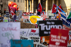 © Licensed to London News Pictures . 13/07/2018. London, UK. Demonstrators march from Portland Place to Trafalgar Square in protest against US President Donald Trump's UK visit . Photo credit: Joel Goodman/LNP