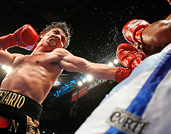 January 28, 2007; Anaheim, CA; USA; Jorge Arce (l) lands a left hook to the head of Julio Ler  (r) during their bout at Arrowhead Pond in Anaheim, CA.  Photo copyright Ed Mulholland/HBO.  NO PHOTO SALES.