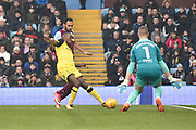 Burton Albion midfielder Lloyd Dyer (11) shoots but Aston Villa goalkeeper Sam Johnstone (1) saves during the EFL Sky Bet Championship match between Aston Villa and Burton Albion at Villa Park, Birmingham, England on 3 February 2018. Picture by Richard Holmes.