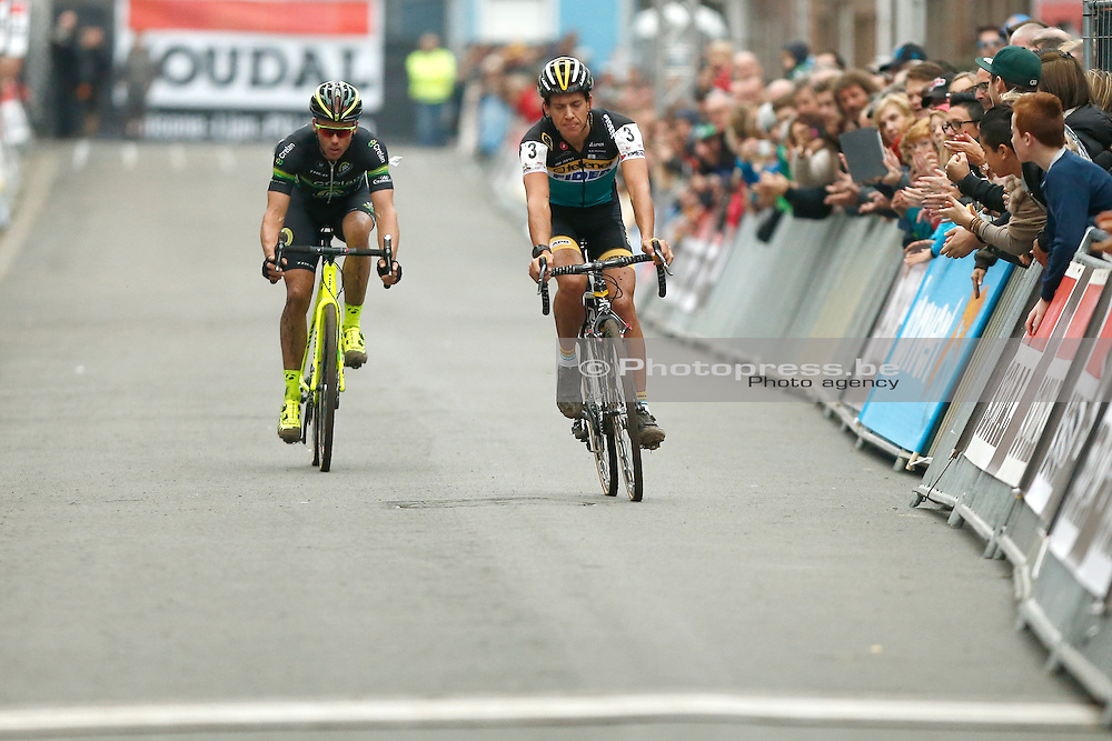BELGIUM / NIEL / CYCLING / WIELRENNEN / CYCLISME / CYCLOCROSS / CYCLO-CROSS / VELDRIJDEN / JAARMARKTCROSS / SOUDAL CLASSICS / AANKOMST / FINISH / ARRIVAL / (L-R) SVEN NYS (3RD) / TOM MEEUSEN (2ND)  /
