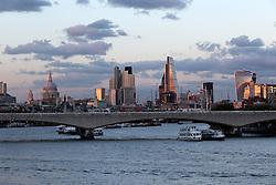 UK ENGLAND LONDON 8SEP16 - London City skyline seen from Hungerford Bridge over the Thames river, central London.<br /> <br /> jre/Photo by Jiri Rezac<br /> <br /> © Jiri Rezac 2016