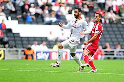 Bristol City captain, Sam Baldock scores his second goal. - Photo mandatory by-line: Dougie Allward/JMP - Tel: Mobile: 07966 386802 24/08/2013 - SPORT - FOOTBALL - Stadium MK - Milton Keynes -  Milton Keynes Dons V Bristol City - Sky Bet League One