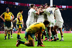 Owen Farrell co-captain of England celebrates scoring a try with team mates - Mandatory by-line: Dougie Allward/JMP - 24/11/2018 - RUGBY - Twickenham Stadium - London, England - England v Australia - Quilter Internationals