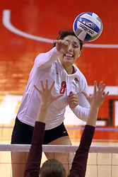 07 November 2014:  Stacey Niao on an attack during an NCAA womens volleyball match between the Loyola Ramblers and the Illinois State Redbirds at Redbird Arena in Normal IL