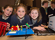 (Raheen NS) Scoil Naomh Cuan's Sarah Curley, Olivia Duffy and Aimee O'Brien   with one of their projects at the Jnr Lego League organized through schools by the Galway Education Centre at The Radisson blu hotel<br />  Photo: Andrew Downes,  xposure