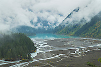 Brasided channels of Robson River emptying into Kinney Lake, Mount Robson Provincial Park