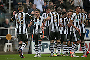 Newcastle players celebrate scoring their sixth goal. Goal scored by Ayoze Pérez (Newcastle United) to make it 6-0 during the EFL Cup 4th round match between Newcastle United and Preston North End at St. James's Park, Newcastle, England on 25 October 2016. Photo by Mark P Doherty.