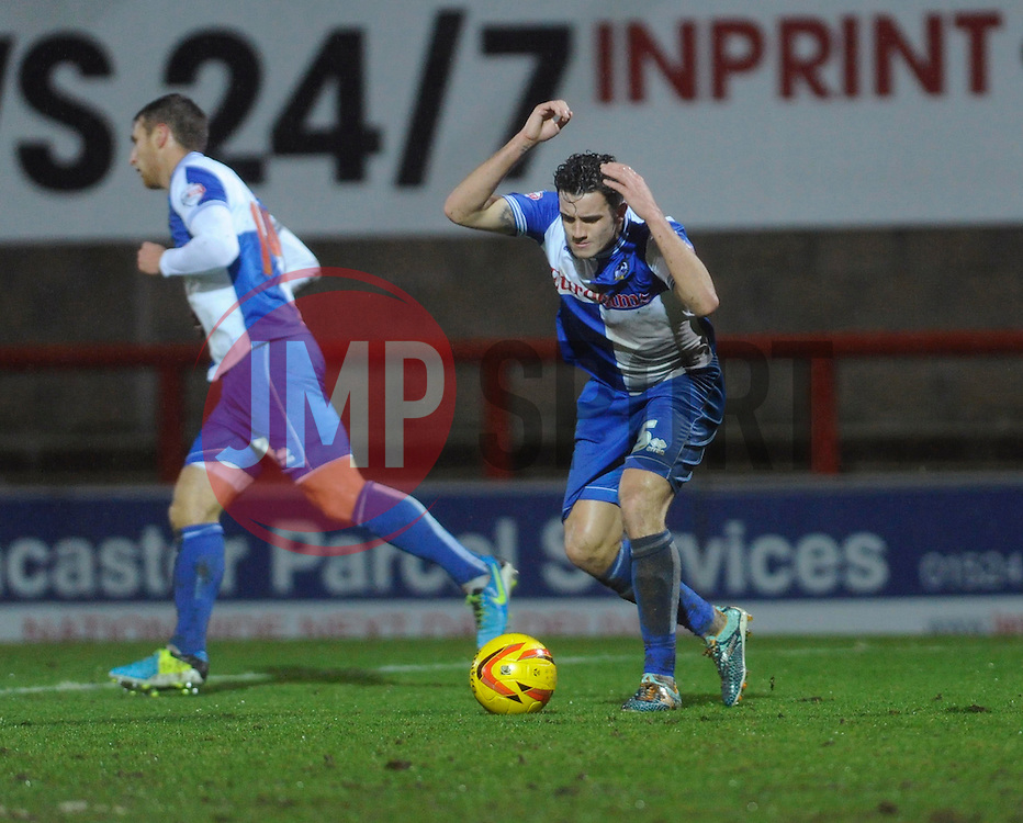 Bristol Rovers' Oliver Norburn reacts to being offside - Photo mandatory by-line: Dougie Allward/JMP - Tel: Mobile: 07966 386802 14/12/2013 - SPORT - Football - Morecombe - Globe Arena - Morecombe v Bristol Rovers - Sky Bet League Two