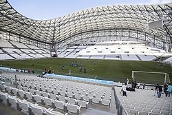 July 26, 2017 - Marseille, FRANCE - Oostende's players pictured in action in the Stade Velodrome stadium during a training session of Belgian first division soccer team KV Oostende ahead of the first leg of the third qualifying round for the UEFA Europa League competition, Wednesday 26 July 2017 in Marseille. KV Oostende plays against Olympic Marseille on Thursday. BELGA PHOTO LAURIE DIEFFEMBACQ (Credit Image: © Laurie Dieffembacq/Belga via ZUMA Press)