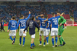 October 14, 2018 - Chorzow, Poland - Italian team celebrate during the UEFA Nations League A match between Poland and Italy at Silesian Stadium in Chorzow, Poland on October 14, 2018  (Credit Image: © Andrew Surma/NurPhoto via ZUMA Press)