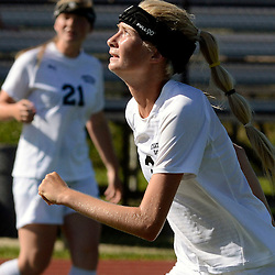 Staff photos by Tom Kelly IV<br /> Strath Haven's Annika Kruse (3) looks up after controlling the ball with her head during the Agnes Irwin School vs Strath Haven girls soccer scrimmage in Nether Providence Township, Thursday August 28, 2014.