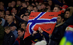 CARDIFF, WALES - Saturday, December 22, 2018: Manchester United supporters with a Norway flag in support of their new manager Ole Gunnar Solskjær during the FA Premier League match between Cardiff City FC and Manchester United FC at the Cardiff City Stadium. Manchester United won 5-1.(Pic by Vegard Grøtt/Propaganda)
