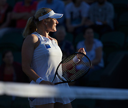 LONDON, ENGLAND - Thursday, June 28, 2012: Elena Baltacha (GBR) celebrates winning a game during the Ladies' Singles 2nd Round match on day four of the Wimbledon Lawn Tennis Championships at the All England Lawn Tennis and Croquet Club. (Pic by David Rawcliffe/Propaganda)