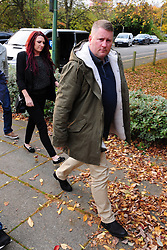 © Licensed to London News Pictures.17/10/2017.<br /> Sevenoaks, UK.<br /> ARRIVING.<br /> Britain First leader Paul Golding 35 and Deputy Leader Jayda Fransen at Sevenoaks Magistrates Court, Kent charged with religiously aggravated harassment.<br /> Photo credit: Grant Falvey/LNP